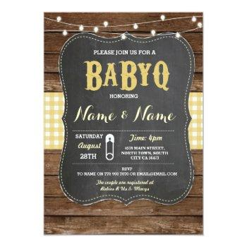 Babyq Bbq Baby Shower Yellow Chalk Wood Invite