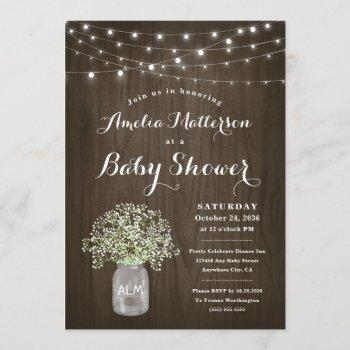 Babys Breath Mason Jar Rustic Wood Baby Shower