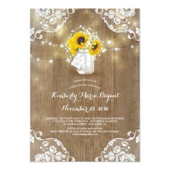 Baby's Breath Mason Jar Sunflowers Baby Shower Invitation