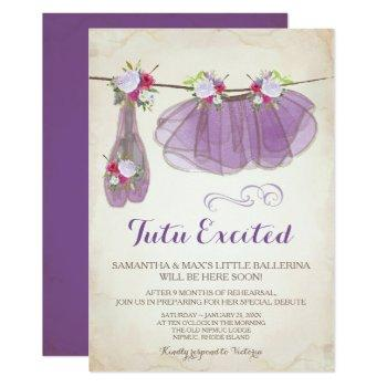 Ballerina Baby Shower Invitation Girl, Purple