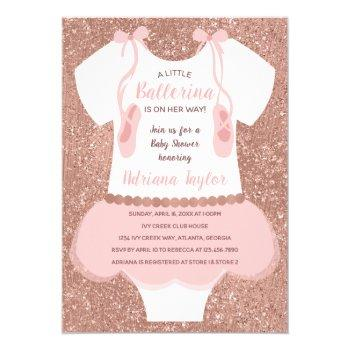 Ballerina Baby Shower Invitation, Rose Gold Invitation