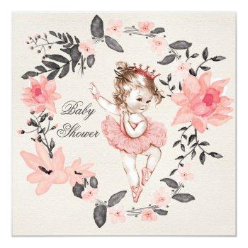 Ballerina Floral Watercolor Wreath Baby Shower Invitation