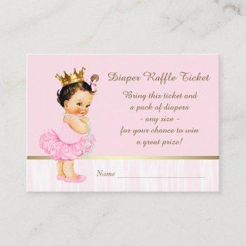 Ballerina Princess Diaper Raffle Ticket Enclosure Card