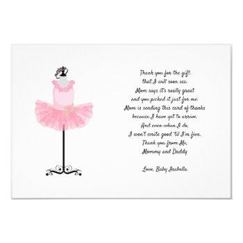 Ballerina Tutu Thank You Note With Poem Invitation