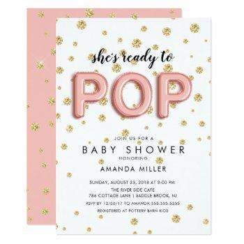 Balloons Ready To Pop Girls Shower Invitations