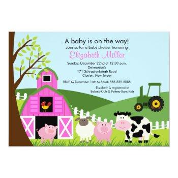 Barnyard Animals Baby Shower Invitation Pink Girl