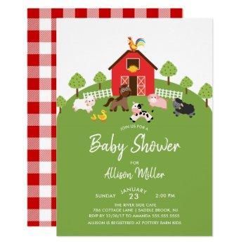 Barnyard Farm Animals Baby Shower Invitation