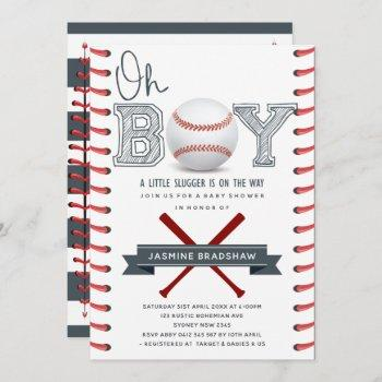 Baseball Baby Shower Oh Boy Invitation