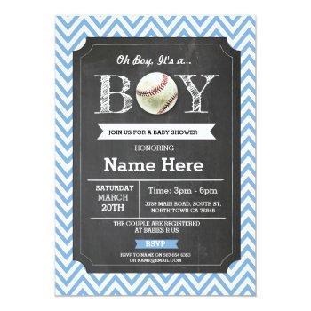 Baseball Blue Boy Baby Shower Chevron Invite