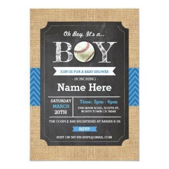 Baseball Blue Boy Baby Shower Sports Invite