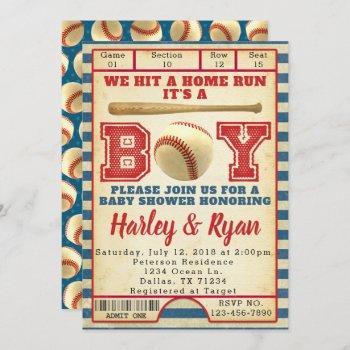 Baseball Boy Baby Shower Invitation