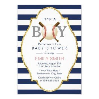 Baseball Boy Modern Navy Blue Stripes Baby Shower Invitation