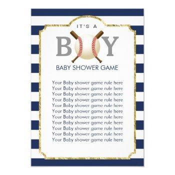 Baseball Boy Navy Blue Stripes Baby Shower Games Invitation
