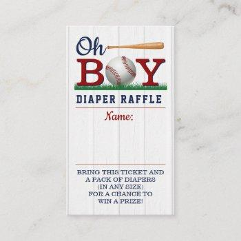 Baseball Boys Baby Shower Diaper Raffle Enclosure Card