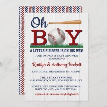 Baseball Boys Baby Shower Invitations