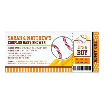 Baseball Couples Baby Shower Invitation