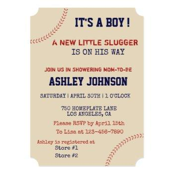 Baseball Laces Baby Shower Invitation