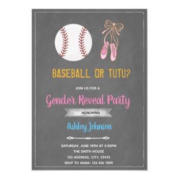 Baseball Or Ballet Gender Party Invitation