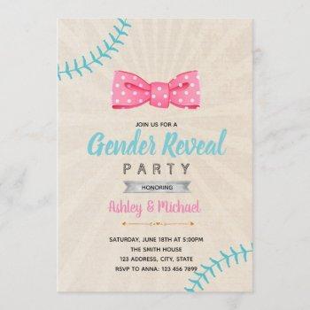Baseball Or Bow Gender Reveal Invitation