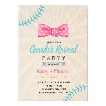 Baseball Or Bow Gender Reveal Invitation