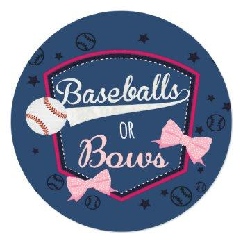 Baseball Or Bows Gender Reveal Invitation