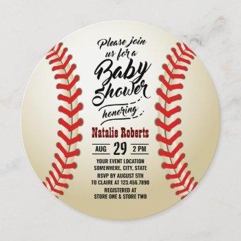 Baseball Sport Theme Typography Baby Shower Invitation