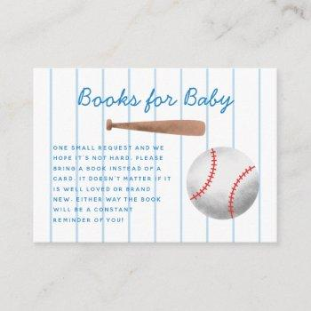 Baseball Sports Baby Shower Book Request Enclosure Card