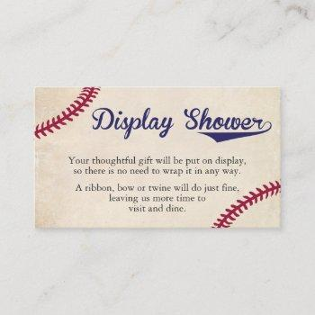 Baseball Themed Display Shower Insert Cards