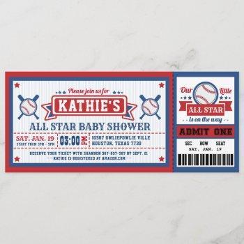 Baseball Ticket Pass Baby Shower Invitation