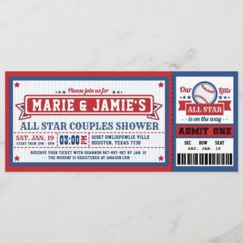 Baseball Ticket Pass Couples Shower Invitation