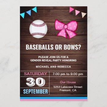 Baseballs Or Bows Gender Reveal Party Invitation