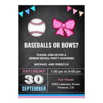 Baseballs Or Bows Gender Reveal Party Invitation