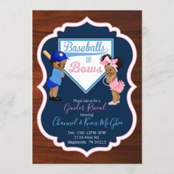 Baseballs Or Bows Invitation