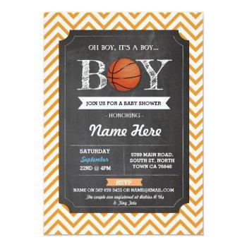 Basketball Boy Baby Shower Orange Sports Invite