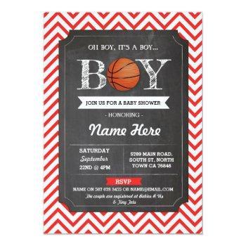 Basketball Boy Baby Shower Red Chalk Sports Invite