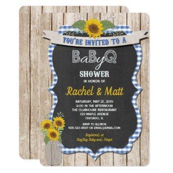 Bbq Baby Shower Invitation Boy Blue Yellow