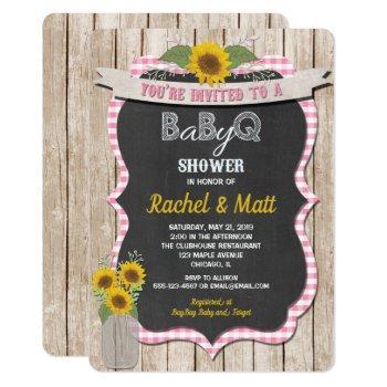 Bbq Baby Shower Invitation Girl Pink Yellow
