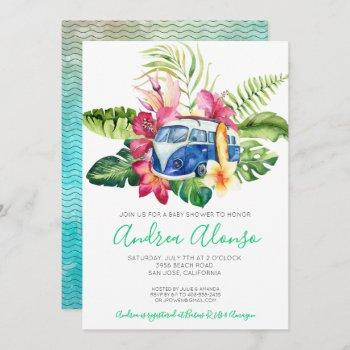 Beach Baby Boy Tropical Baby Shower Invitation