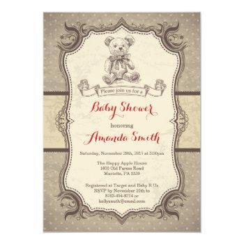 Bear Baby Shower Invitation Vintage Retro