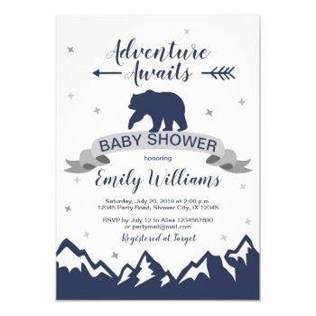 Bear Mountains Boy Baby Shower Invitation