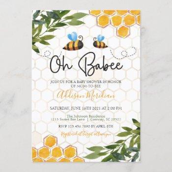Bee Baby Shower Invitation, Oh Honey Babee Neutral Invitation