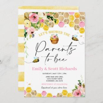 Bee Baby Shower Pink Floral Parents To Bee Baby Invitation