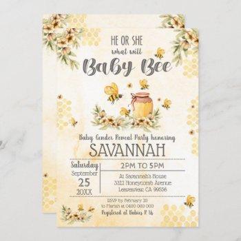 Bee Gender Reveal Baby Shower Invitation Spring