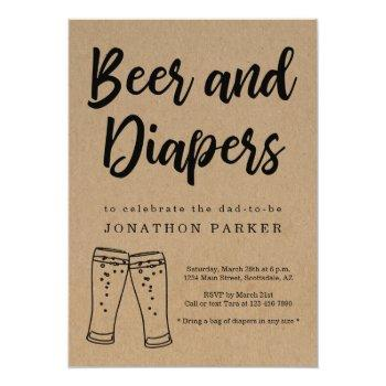 Beer & Diaper Party - Daddy, Guy, Men Baby Shower Invitation