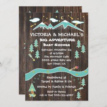 Big Adventure Rustic Mountain Folk Art Baby Shower Invitation