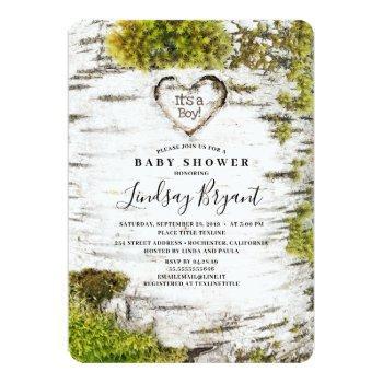 Birch Tree Bark Rustic Woodland Baby Shower Invitation