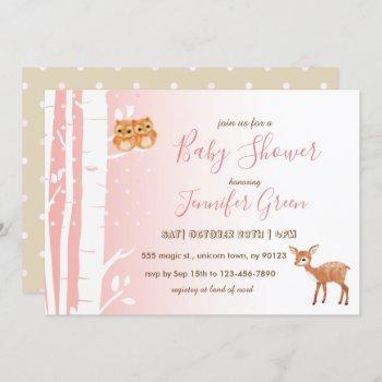 Birch Tree Owl Deer Baby Shower Invitations
