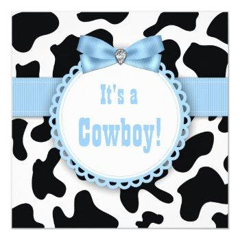 Black And Blue Cowboy Baby Boy Shower Invitation
