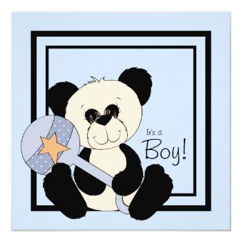 Black And Blue Panda Baby Shower Invitation