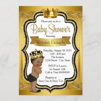 Black And Gold African American Prince Baby Shower Invitation